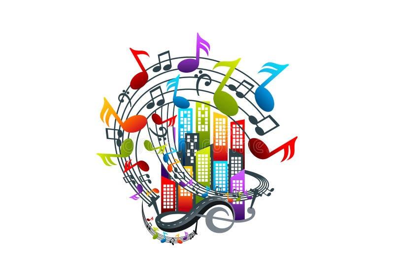 progettazione di logo di musica illustrazione di stock