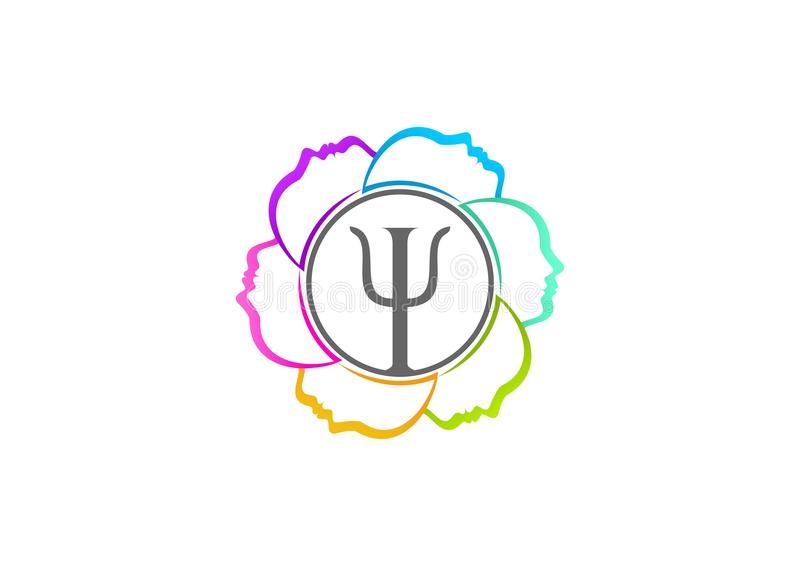Progettazione di logo di psicologia illustrazione vettoriale