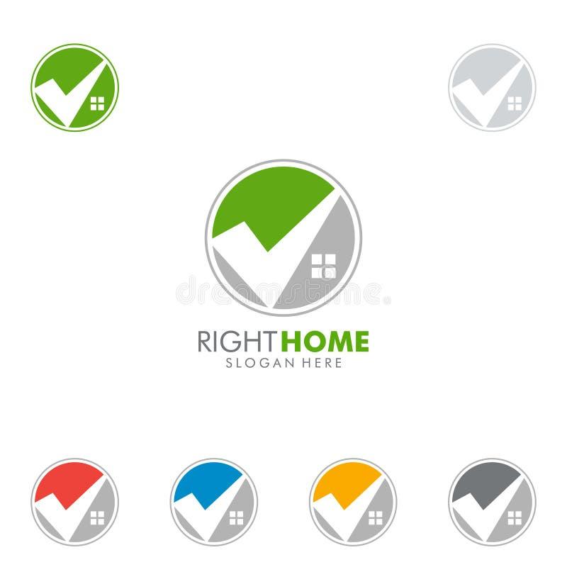 Progettazione di logo di vettore del bene immobile con la casa ed il controllo illustrazione di stock