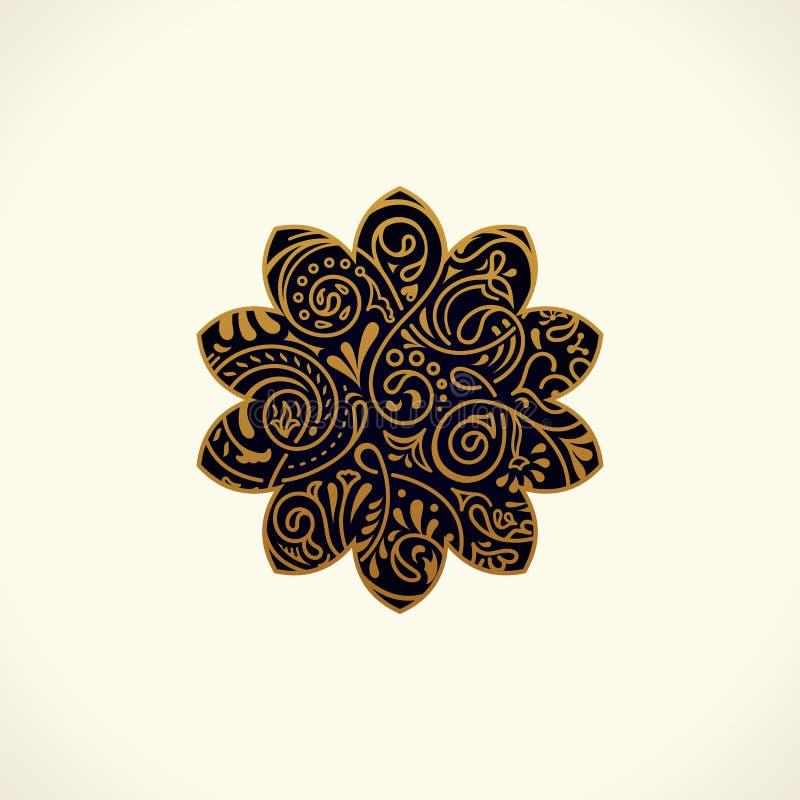 Progettazione di logo di vettore Stella rotonda floreale di islam dell'oro Elemento d'annata, emblema nello stile orientale royalty illustrazione gratis