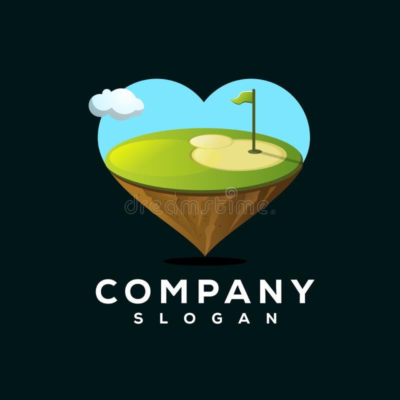 Progettazione di logo di golf di amore pronta per l'uso illustrazione vettoriale
