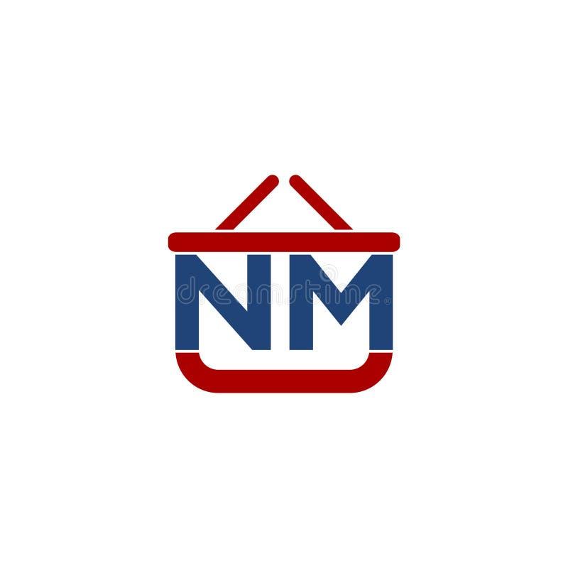 Progettazione di logo di iniziale della lettera di nanometro, progettazione di logo della lettera illustrazione di stock