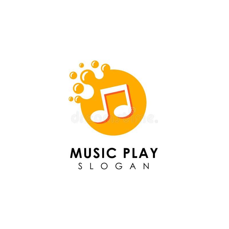 progettazione di logo di musica dei punti progettazione piana di simbolo della nota di musica illustrazione vettoriale