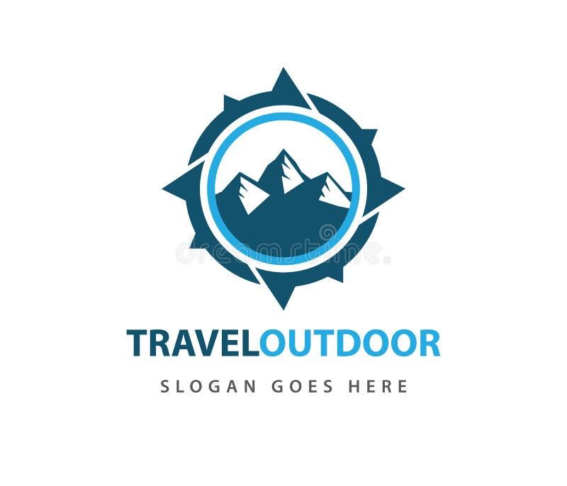 Progettazione di logo di navigazione di direzione di avventura di viaggio della rosa dei venti di bussola illustrazione vettoriale