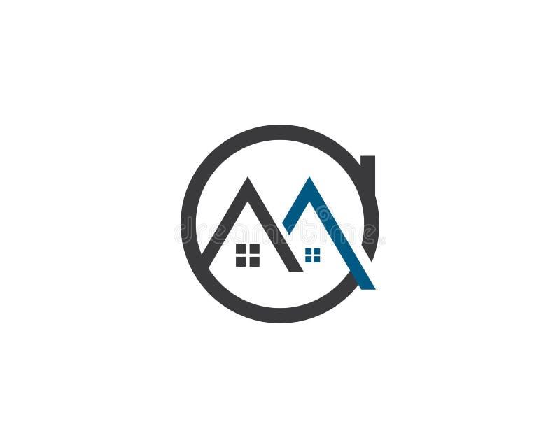 Progettazione di logo di Real Estate, della proprietà e della costruzione illustrazione di stock