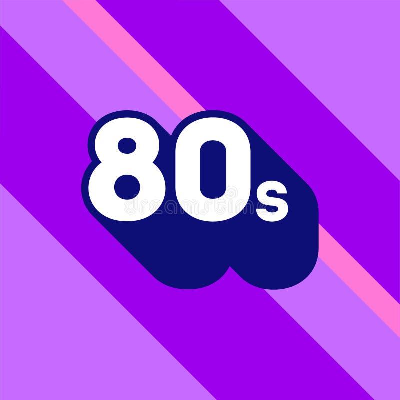 progettazione di logo 80s segno degli anni 80 con ombra lunga Numero novanta Elemento di vettore illustrazione di stock
