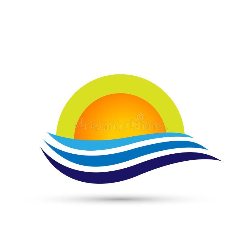 Progettazione di logo di simbolo delle icone dell'elemento dell'icona di logo dell'onda del mare del globo di Sun su fondo bianco illustrazione vettoriale