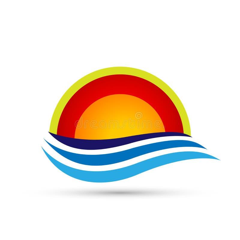 Progettazione di logo di simbolo delle icone dell'elemento dell'icona di logo dell'onda del mare del globo di Sun su fondo bianco illustrazione di stock