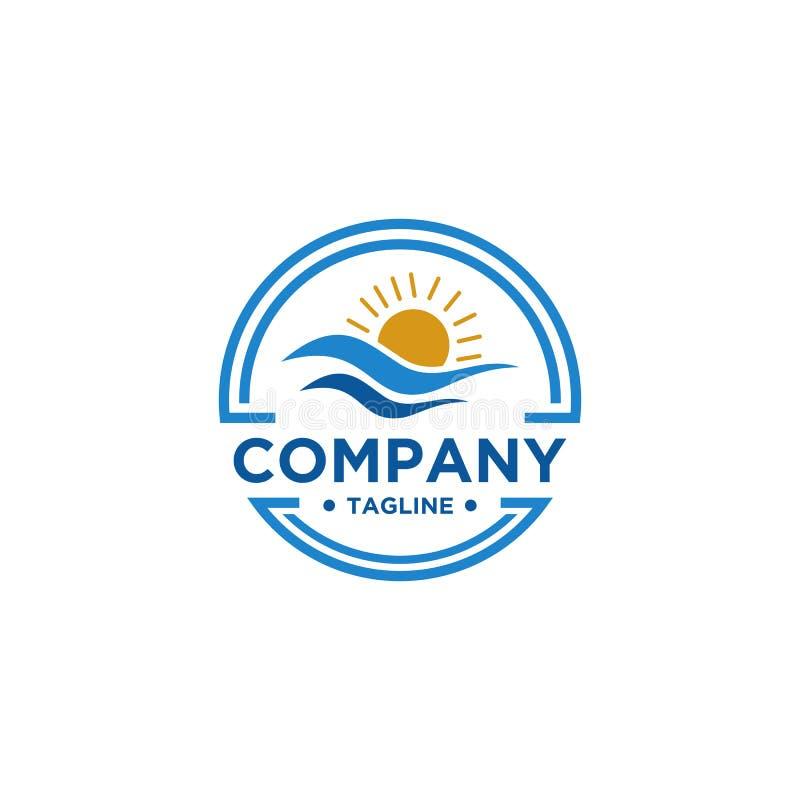 Progettazione di logo di Sun e del mare illustrazione di stock
