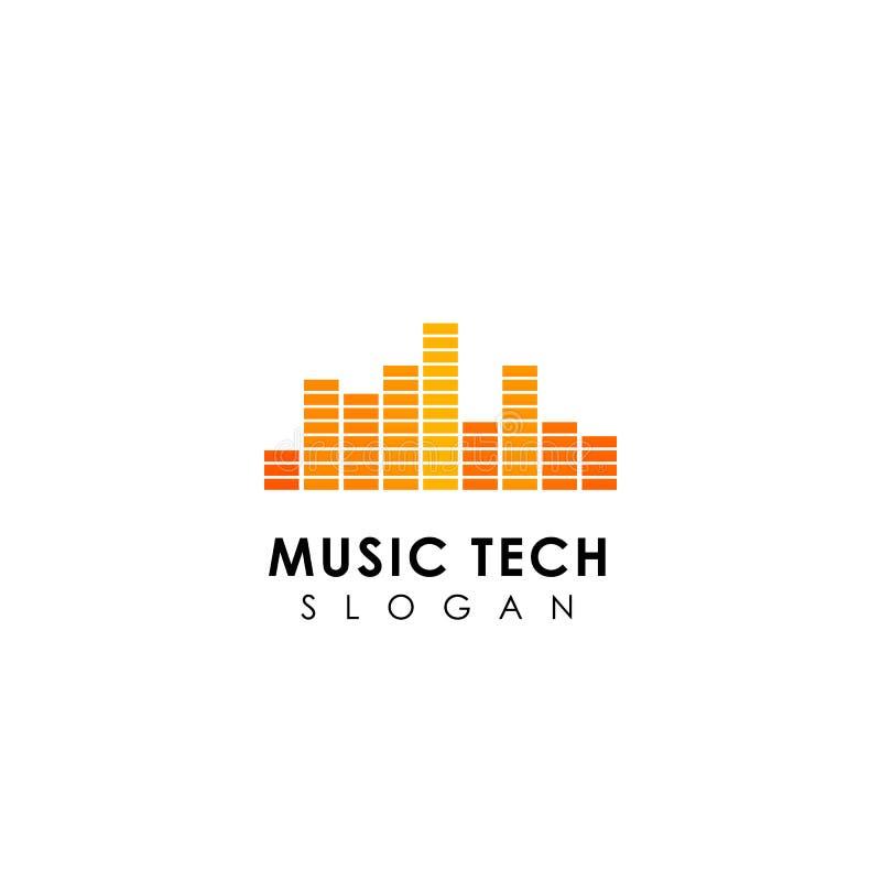 progettazione di logo di tecnologia di musica progettazione di simbolo dell'icona dell'onda sonora illustrazione vettoriale