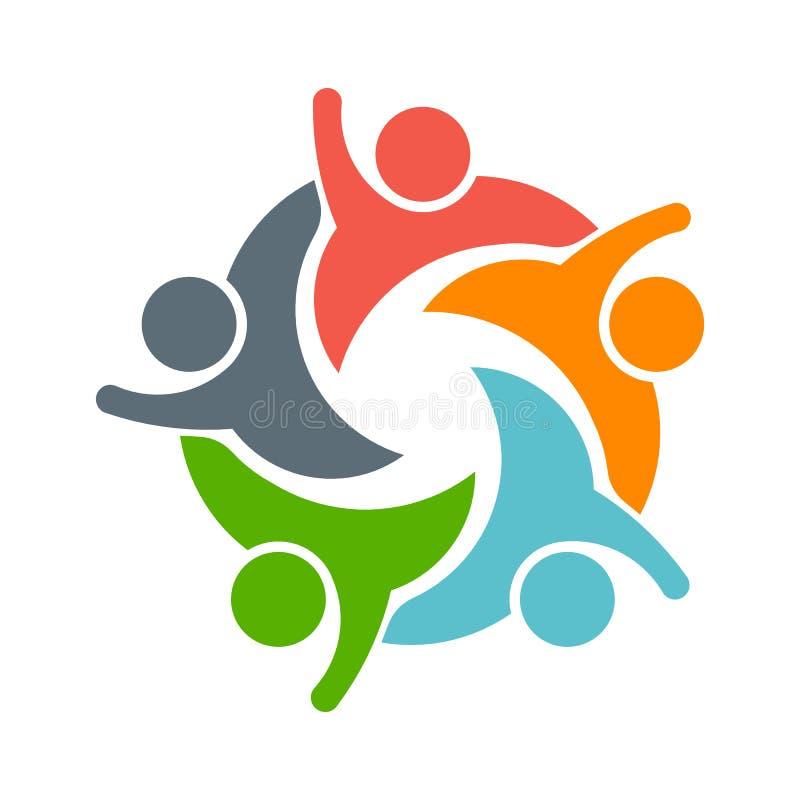 Progettazione di Logo Vector della gente di lavoro di squadra illustrazione vettoriale