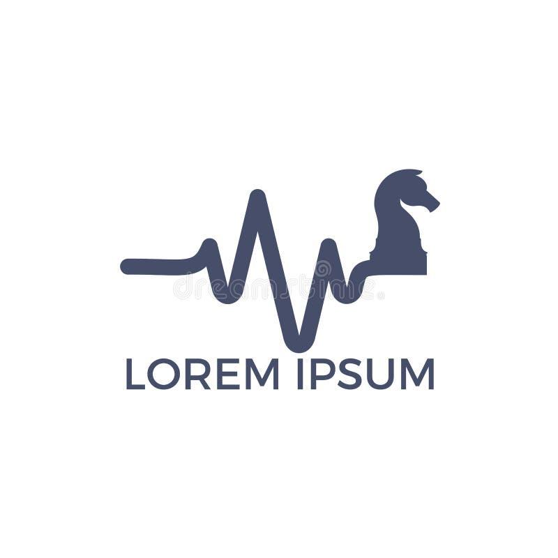 Progettazione di logo di vettore di battito cardiaco di scacchi Concetto di logo di impulso e di scacchi illustrazione vettoriale