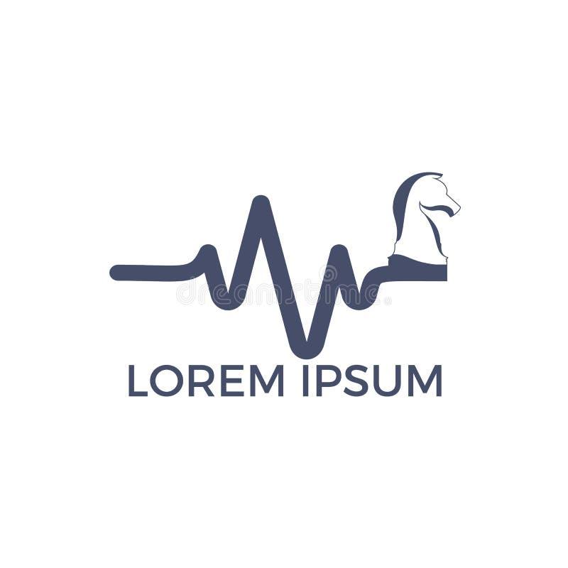 Progettazione di logo di vettore di battito cardiaco di scacchi Concetto di logo di impulso e di scacchi royalty illustrazione gratis