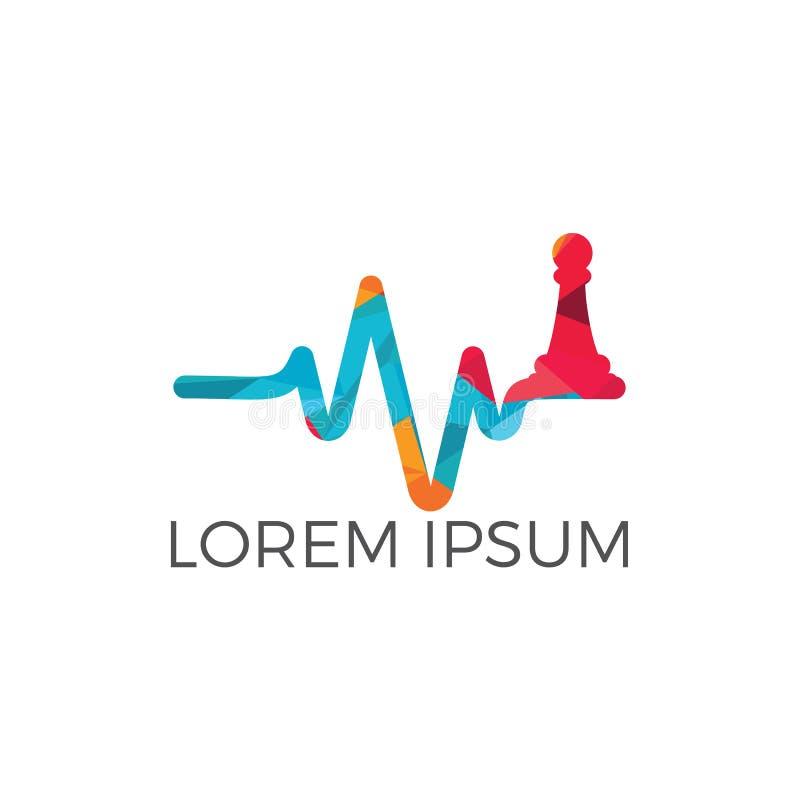 Progettazione di logo di vettore di battito cardiaco di scacchi Concetto di logo di impulso e di scacchi illustrazione di stock