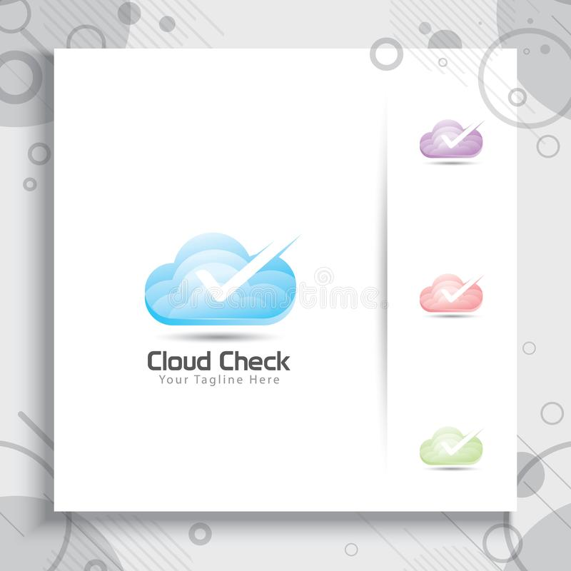 Progettazione di logo di vettore del controllo della nuvola con stile moderno di colore, digitale royalty illustrazione gratis