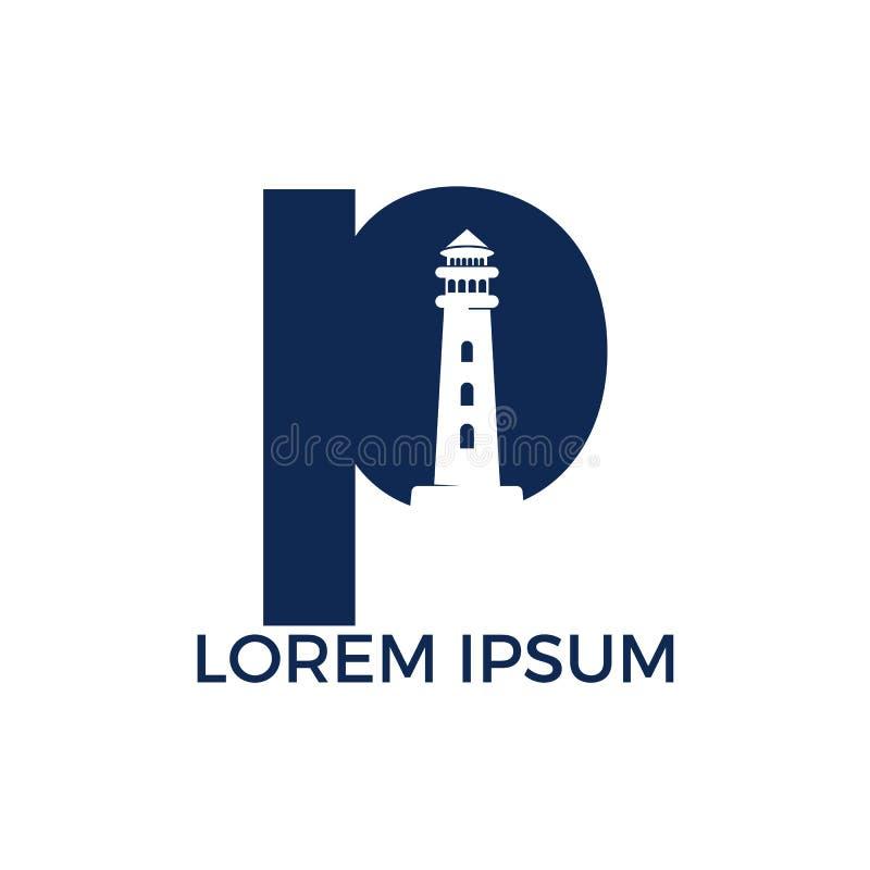 Progettazione di logo di vettore del faro della lettera P illustrazione vettoriale