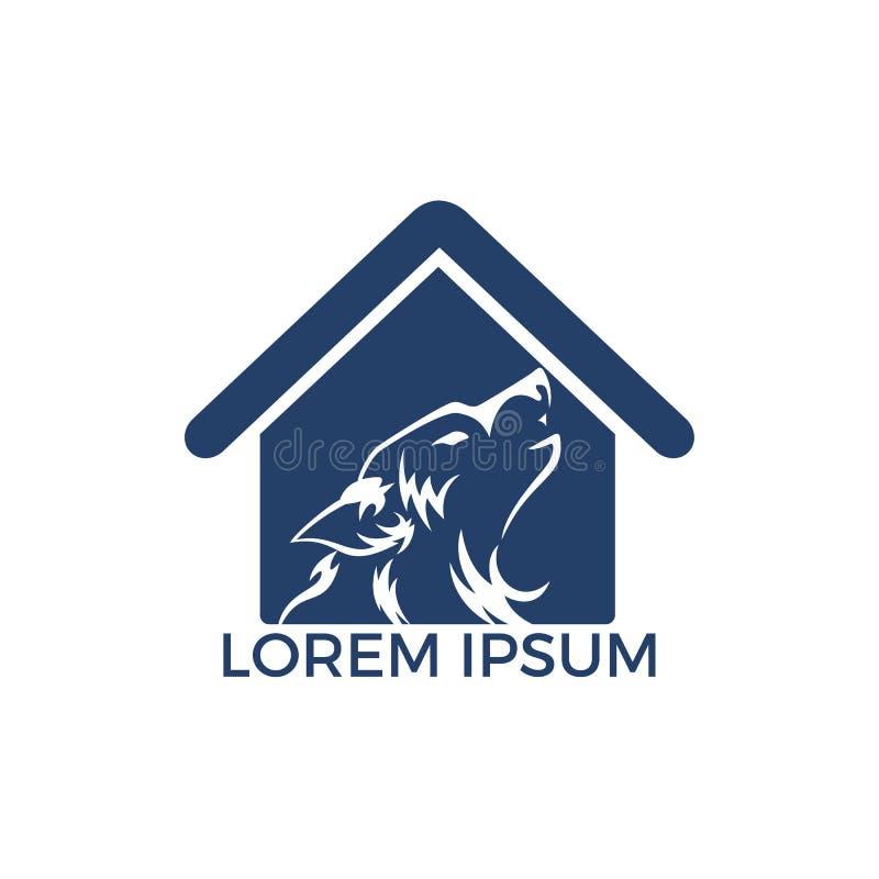 Progettazione di logo di vettore del lupo illustrazione di stock