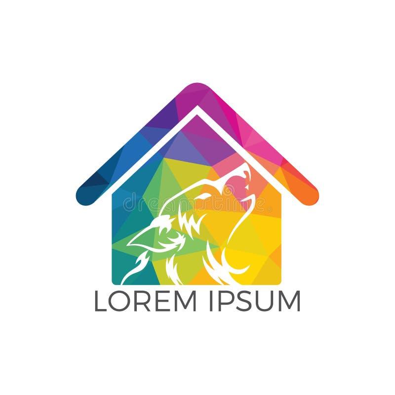 Progettazione di logo di vettore del lupo illustrazione vettoriale