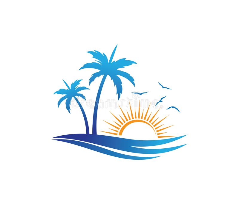 Progettazione di logo di vettore dell'albero del cocco della spiaggia di estate di festa di turismo dell'hotel fotografia stock