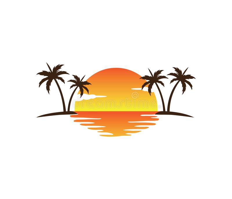Progettazione di logo di vettore dell'albero del cocco della spiaggia di estate di festa di turismo dell'hotel immagini stock libere da diritti