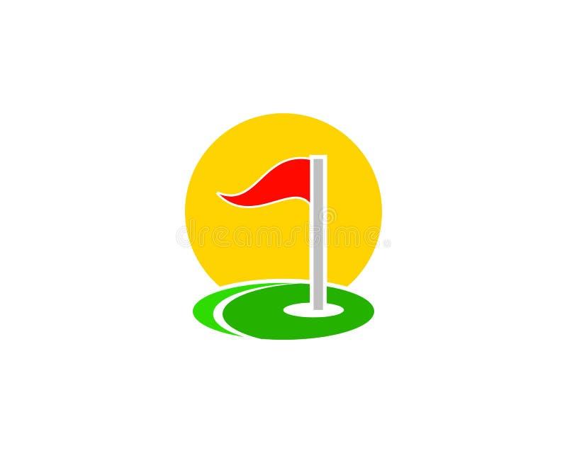 Progettazione di logo di vettore della comunità del campo di corso di sport di golf illustrazione vettoriale