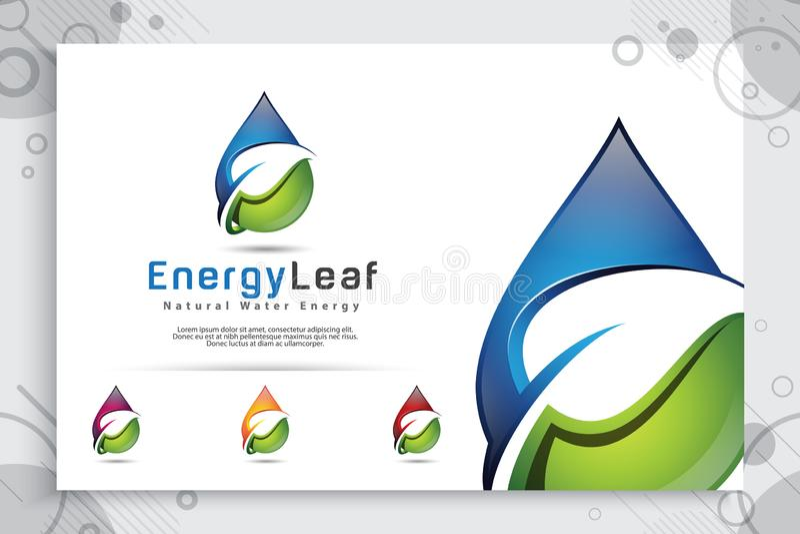 Progettazione di logo di vettore della goccia di acqua con il concetto moderno di colore, acqua minerale fresca di simbolo dell'i illustrazione di stock