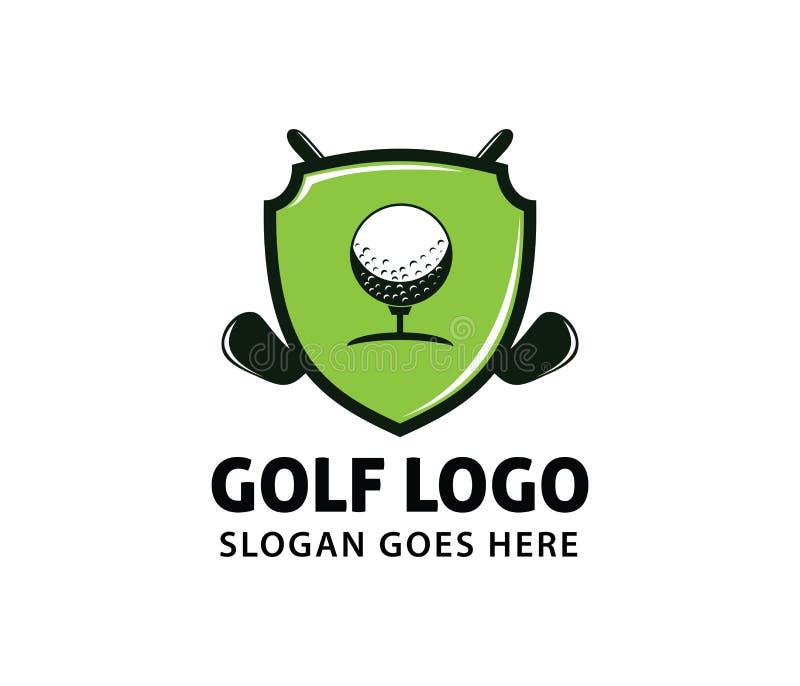 Progettazione di logo di vettore della lega di campionato della comunità del campo di corso di sport di golf illustrazione di stock