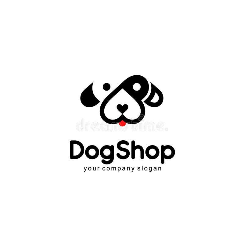 Progettazione di logo di vettore Negozio del cane illustrazione di stock