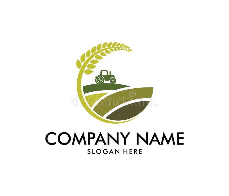 Progettazione di logo di vettore per agricoltura, agronomia, azienda agricola del grano, campo rurale di azienda agricola del pae illustrazione vettoriale