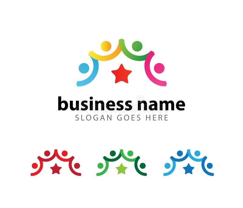 Progettazione di logo di vettore di risultato di successo del capo di organizzazione della Comunità royalty illustrazione gratis