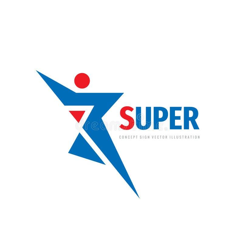 Progettazione di logo di vettore di sport Segno di concetto di forma fisica Simbolo umano del carattere illustrazione di stock