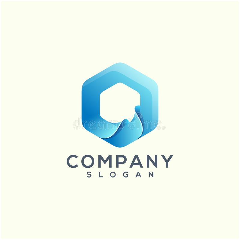 Progettazione di logo di Wave pronta per l'uso per la vostra società illustrazione vettoriale