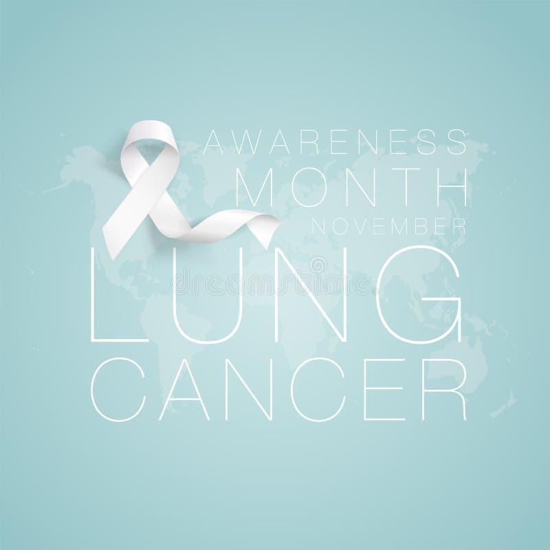 Progettazione di Lung Cancer Awareness Calligraphy Poster Nastro bianco realistico Novembre ? mese di consapevolezza del Cancro I royalty illustrazione gratis