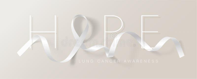 Progettazione di Lung Cancer Awareness Calligraphy Poster Nastro bianco realistico Novembre ? mese di consapevolezza del Cancro V illustrazione di stock