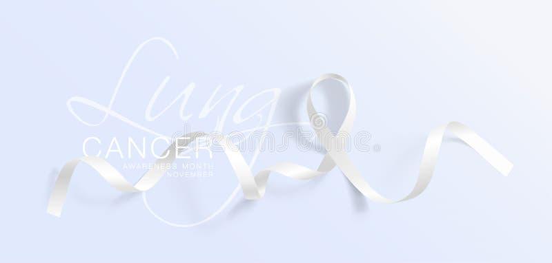 Progettazione di Lung Cancer Awareness Calligraphy Poster Nastro bianco realistico Novembre ? mese di consapevolezza del Cancro V illustrazione vettoriale