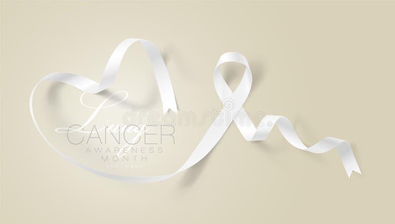 Progettazione di Lung Cancer Awareness Calligraphy Poster Nastro bianco realistico Novembre ? mese di consapevolezza del Cancro V royalty illustrazione gratis