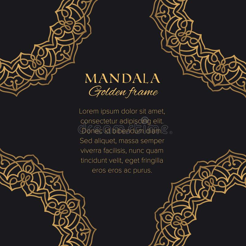 Progettazione di lusso degli ornamenti arabi Elementi grafici decorativi dorati su fondo nero illustrazione vettoriale