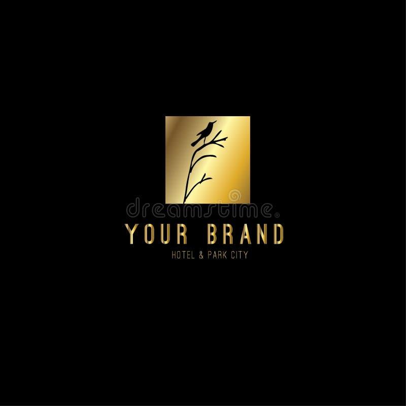 Progettazione di lusso di logo di vettore dell'uccello illustrazione di stock