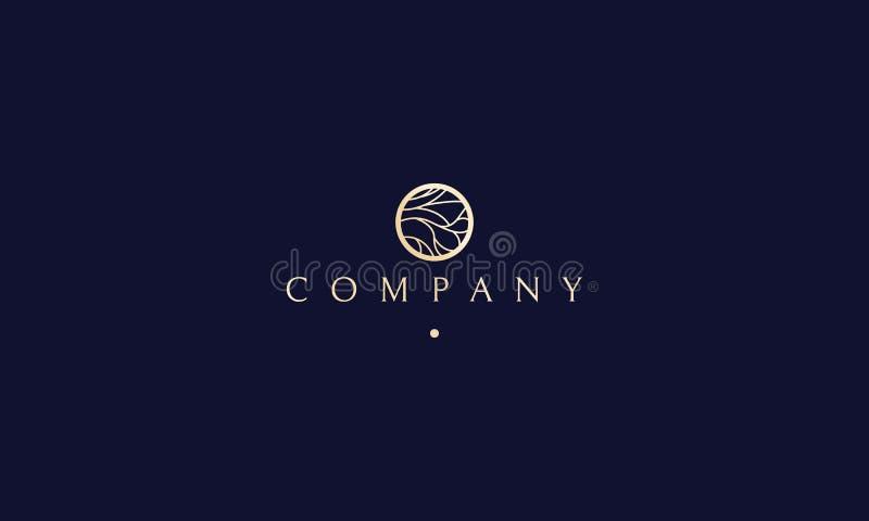 Progettazione di lusso di logo di vettore di yoga della stazione termale dell'albero di bellezza dei gioielli illustrazione vettoriale