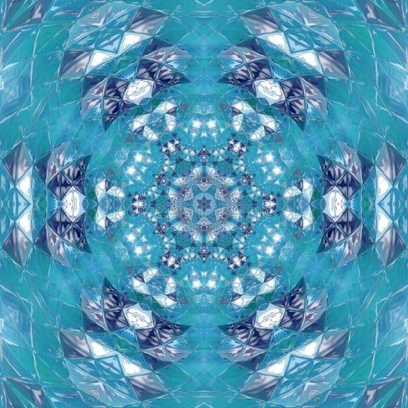 Progettazione di Mandala Kaleidoscopic del cielo blu di pace illustrazione vettoriale