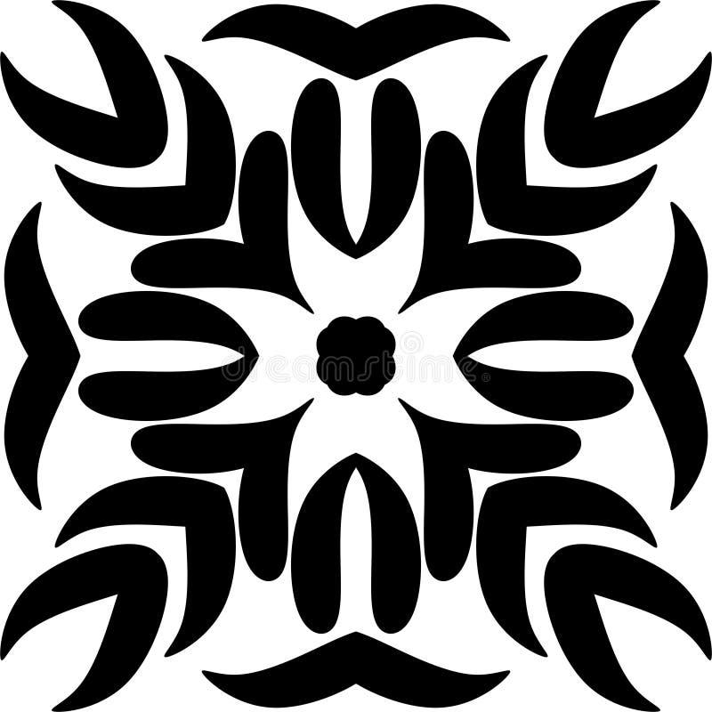 Progettazione di Mandela con progettazione nera floreale, ilustration, radici nere illustrazione di stock
