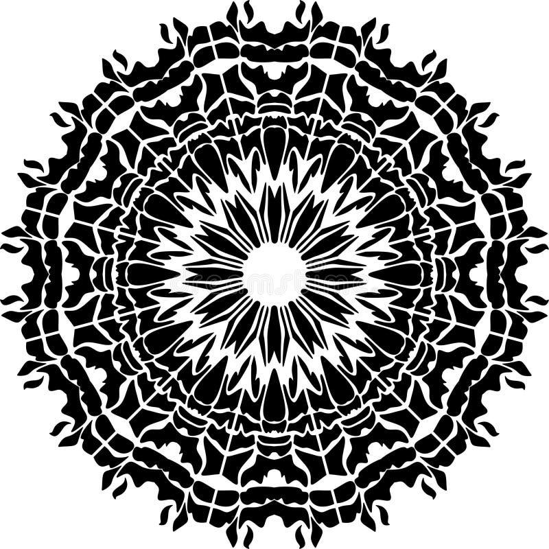 Progettazione di Mandela con progettazione nera linea illustrazione della foglia floreale della mandala di arte royalty illustrazione gratis