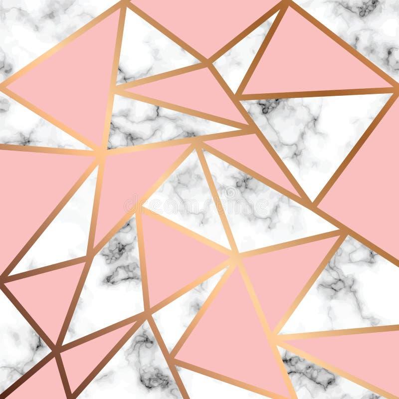 Progettazione di marmo con le linee geometriche dorate, superficie di marmorizzazione in bianco e nero, fondo lussuoso moderno di illustrazione vettoriale