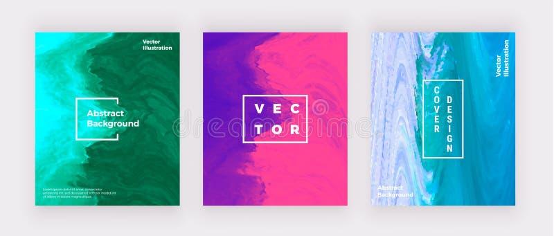 Progettazione di marmo liquida delle coperture Blu, rosa, arte fluida creativa porpora Fondo moderno per l'invito, nozze, cartell illustrazione di stock