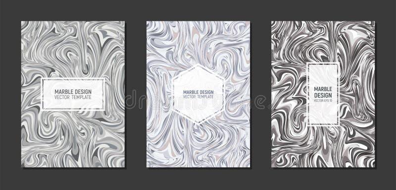 Progettazione di marmo moderna della copertura dei modelli nella dimensione A4 Struttura di marmo liquida Gradazione di grigio fl royalty illustrazione gratis