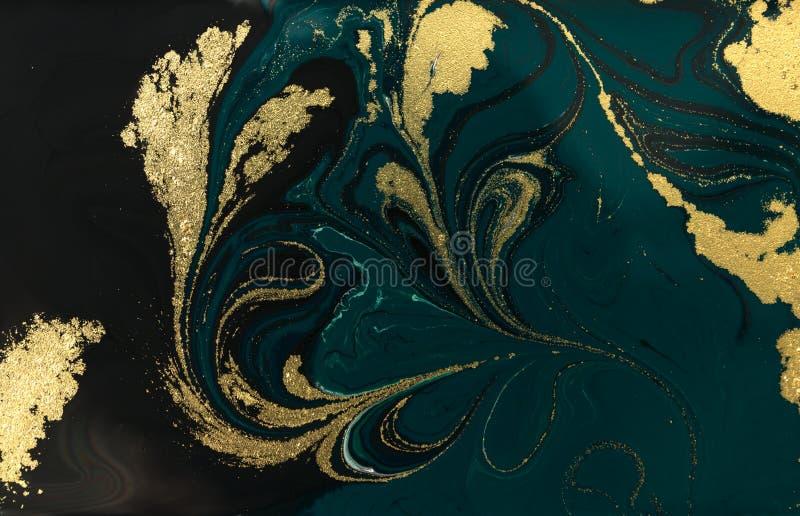 Progettazione di marmorizzazione di struttura dell'oro Modello di marmo blu e dorato Arte fluida immagine stock