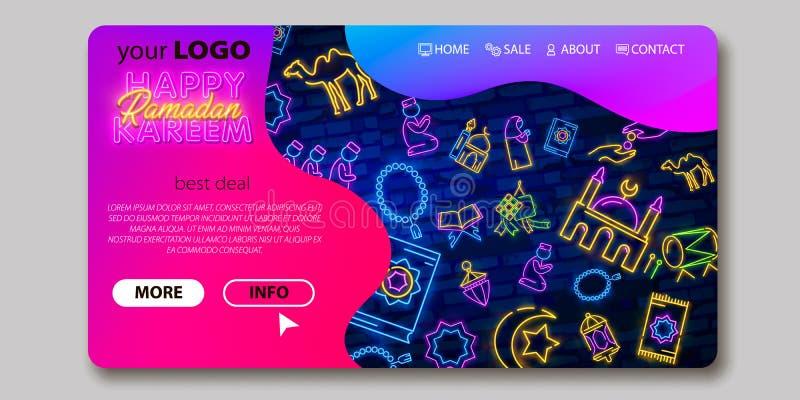 Progettazione di massima al neon di saluto di Ramadan Kareem con l'insegna al neon, adatta a pagina di atterraggio di web, ui, ap royalty illustrazione gratis