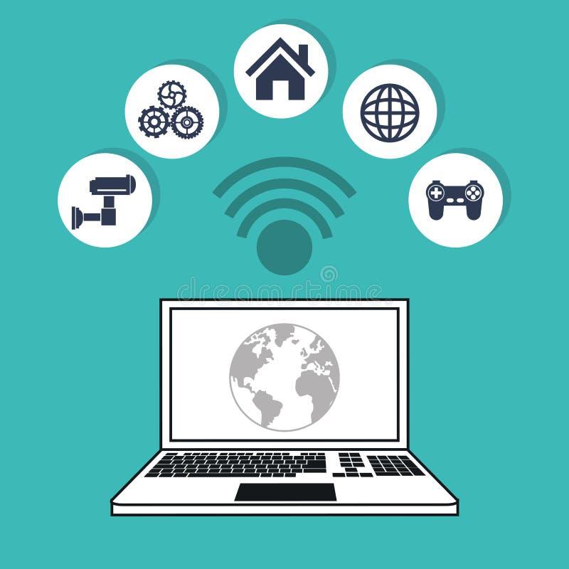 Progettazione di massima di cose di Internet del mondo dei computer illustrazione di stock
