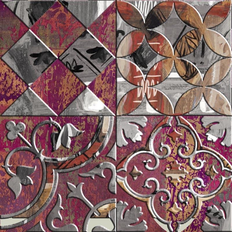 Progettazione di massima decorativa moderna delle mattonelle della retro pittura fotografia stock libera da diritti