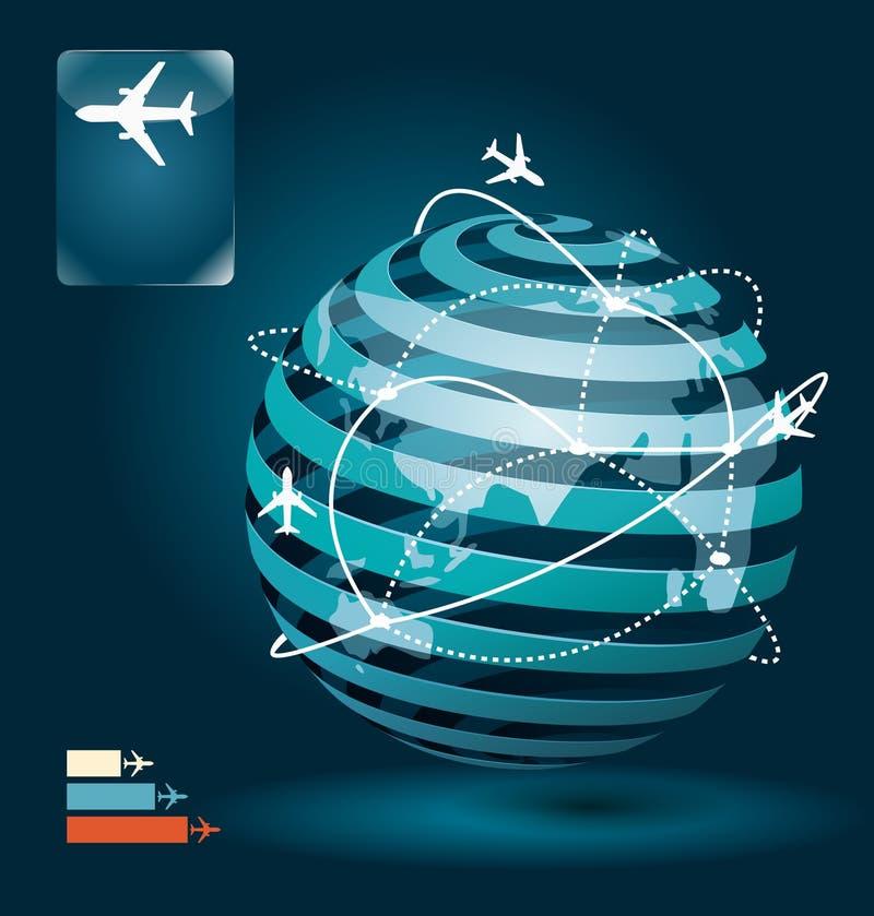 Progettazione di massima della rete dei collegamenti dell'aeroplano di Infographic illustrazione di stock